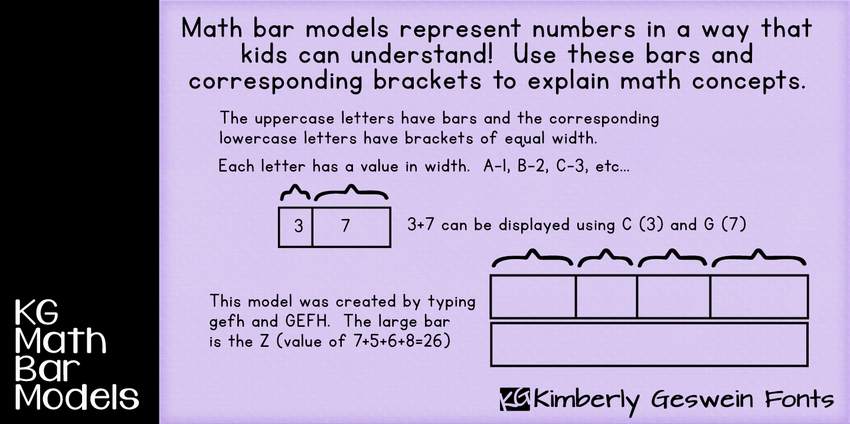 Download Free Font Kg Math Bar Models