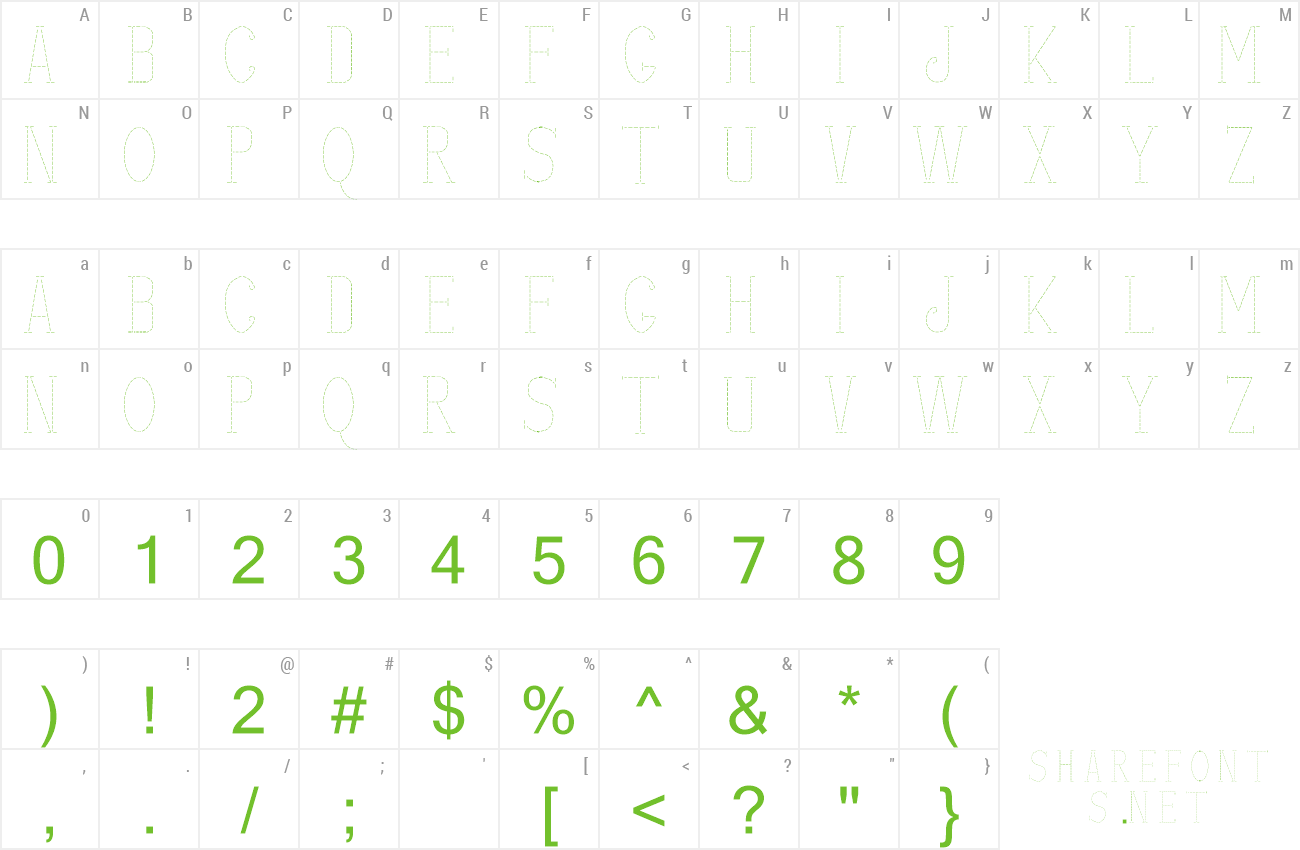 Font stitches shadow preview