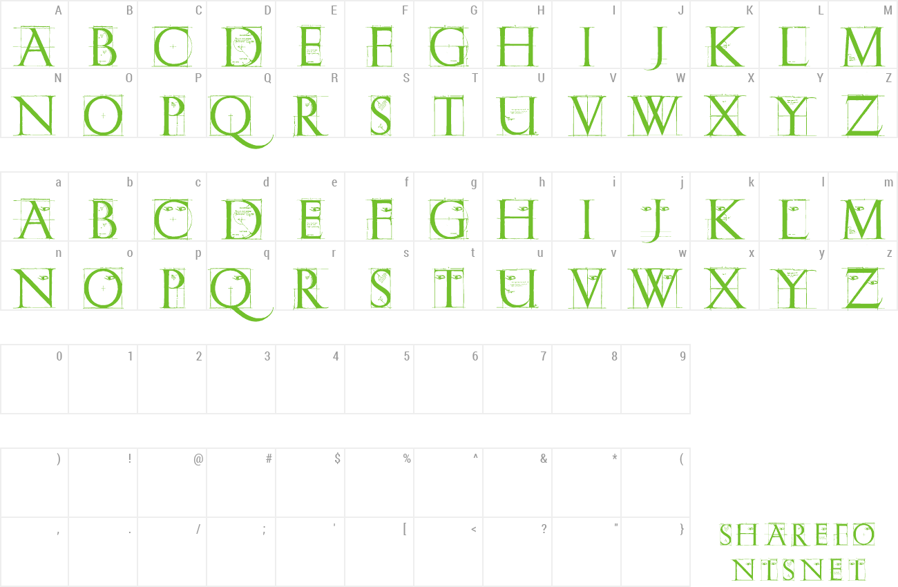 Font ErikGCapsSketches preview