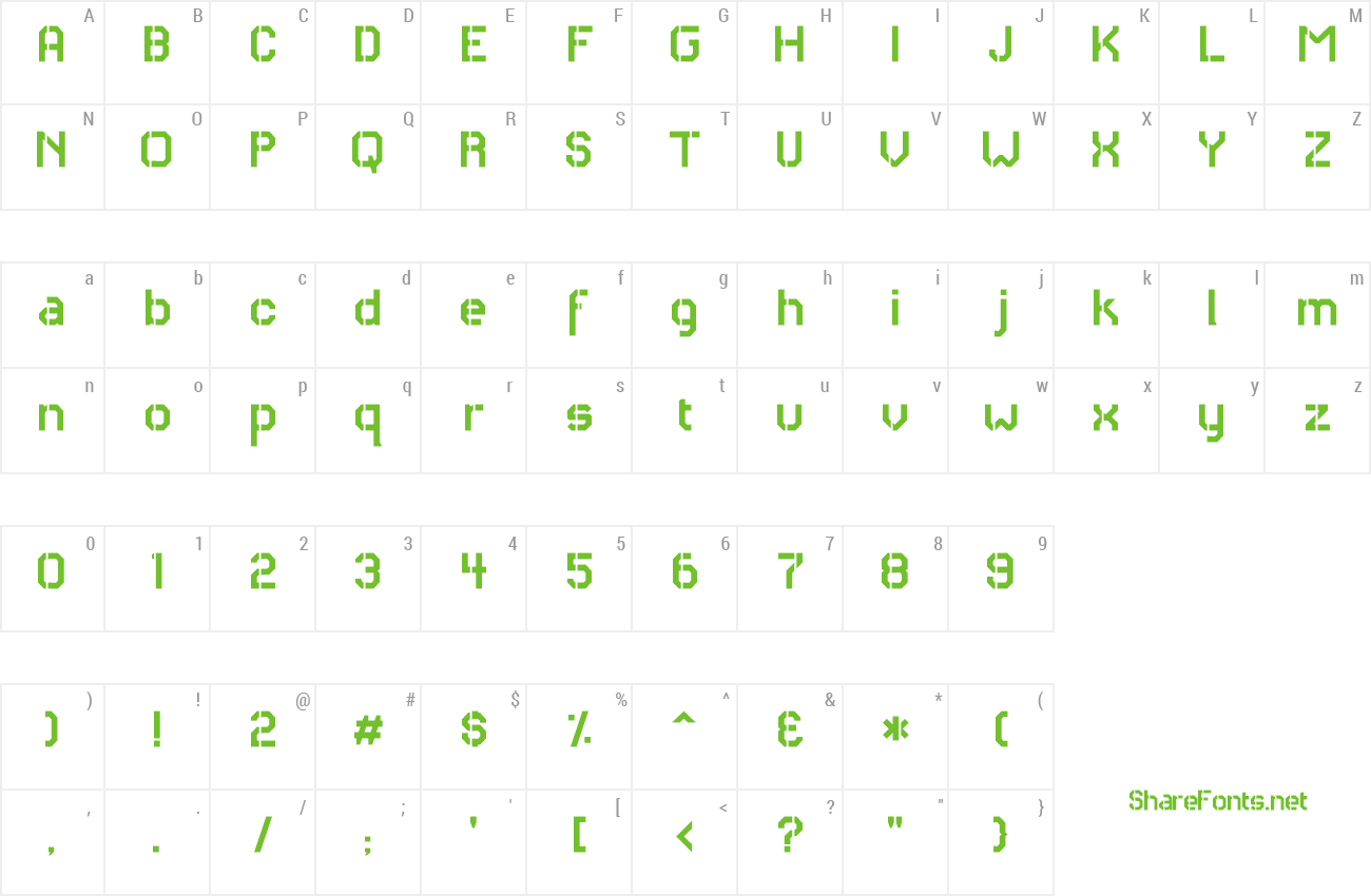 Font RH Carrier Stencil preview