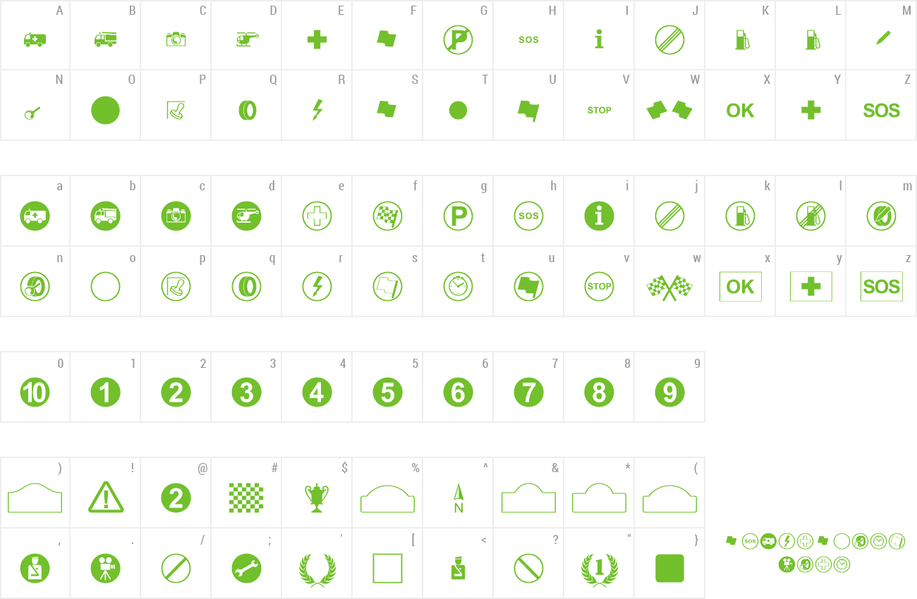 Download Free Font Rally Symbols