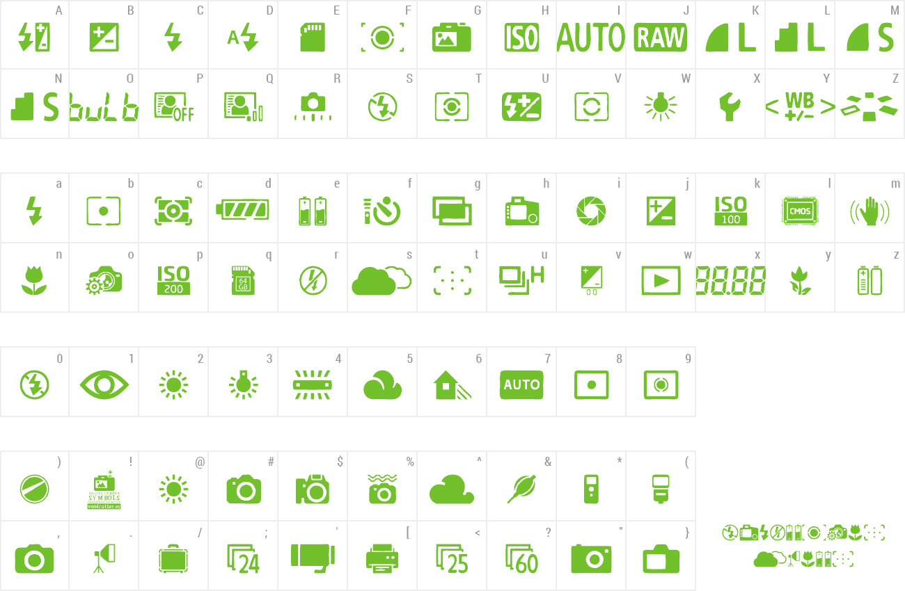 Download Free Font Digital Camera Symbols