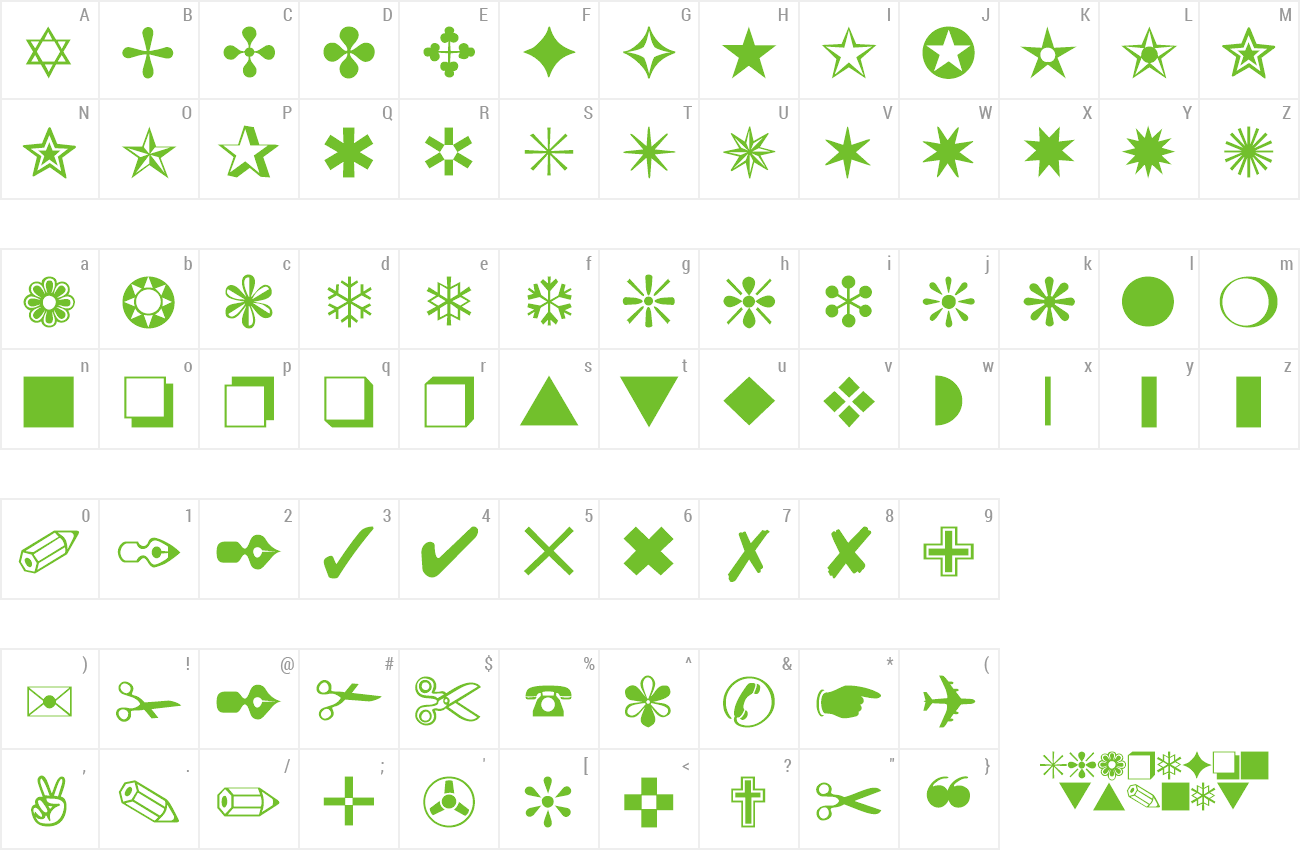Download Free Font Dingbats One