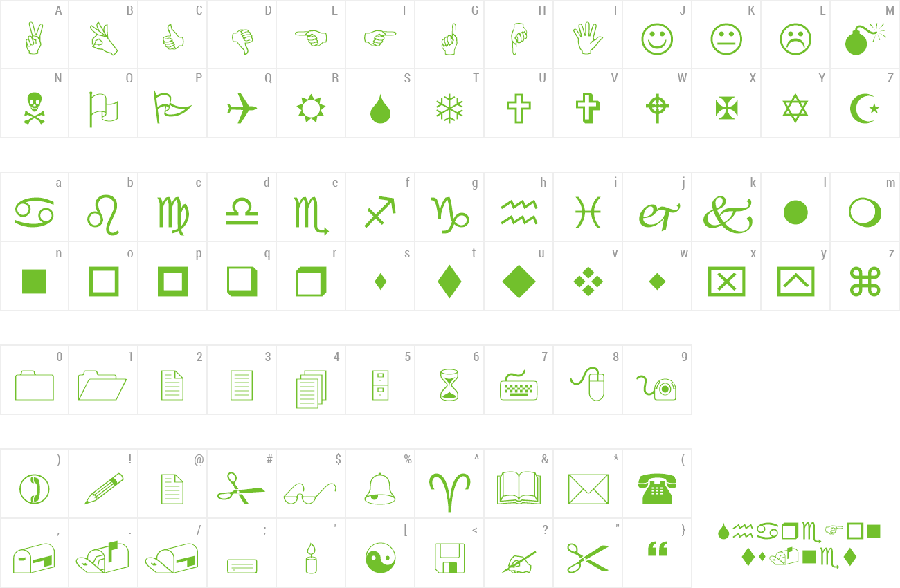 Font Wingdings preview