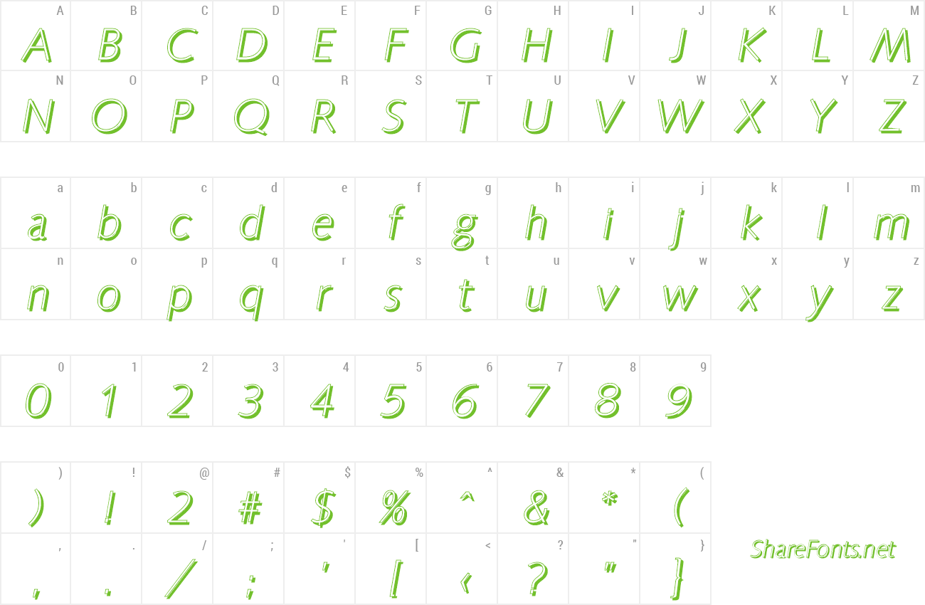 Font RogerBeckerShadow-Xlight preview