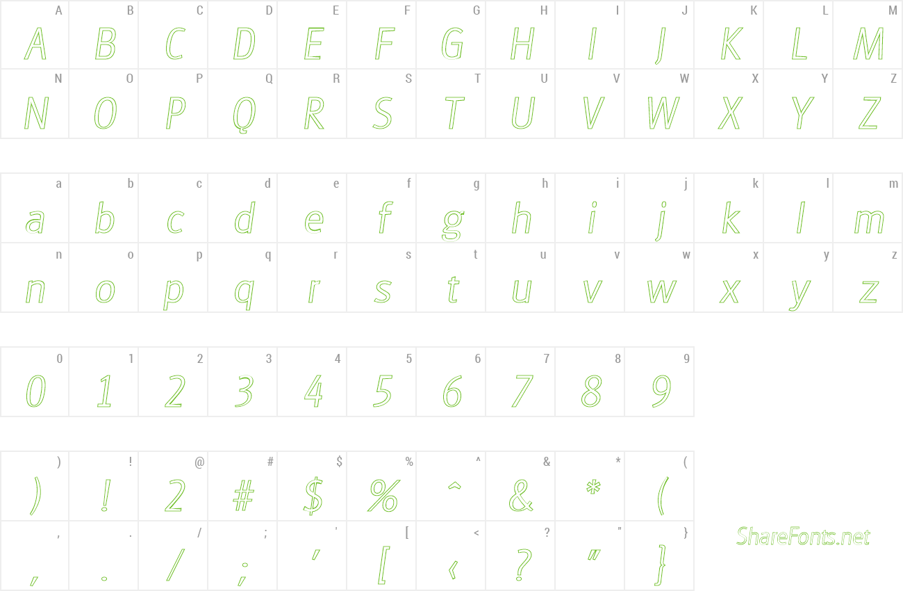 Font RichardBeckerOutline-Xlight preview