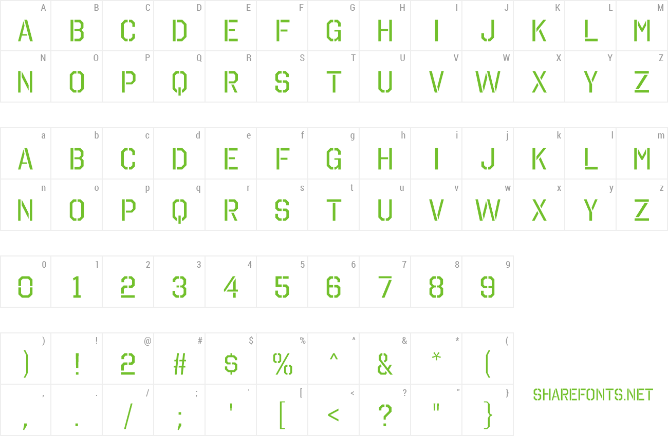 Font Octin Stencil preview
