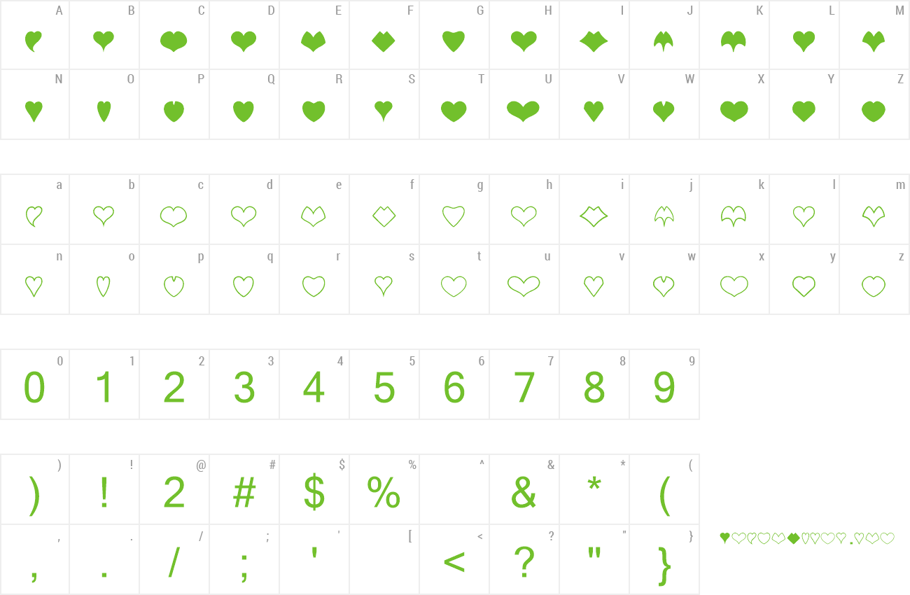 Font Heart Shapes preview