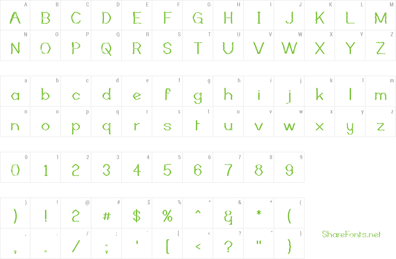 Font Mutant Bamboo II preview