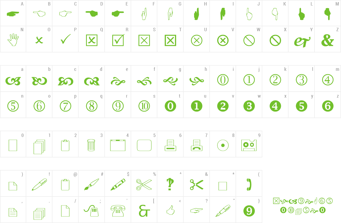 Wingdings Character Map:
