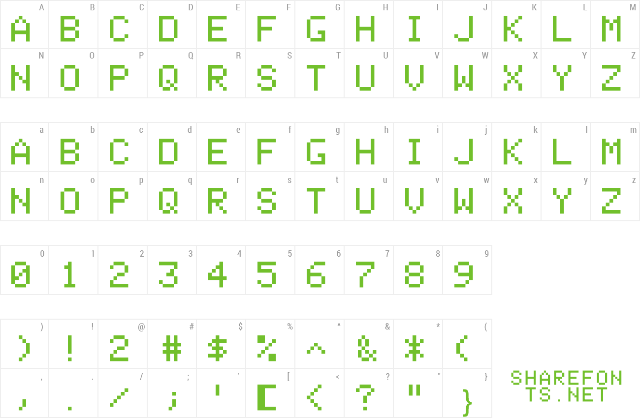 Font Apple II+ preview