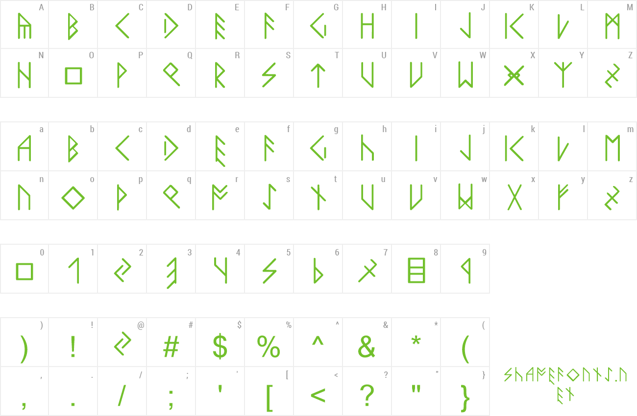 Font LatinLoversRunes preview